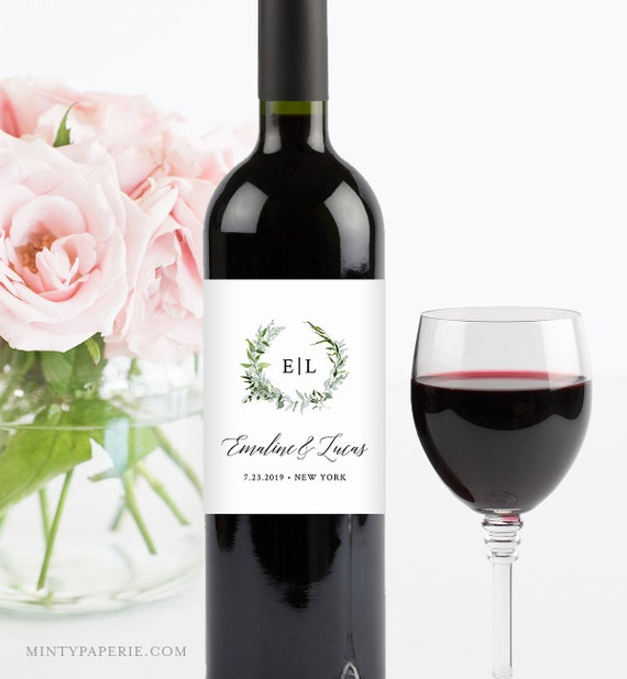 Wine Label Template, Printable Wine Bottle Sticker, INSTANT DOWNLOAD, 100% Editable, Watercolor Greenery Wreath, Monogram, DIY #016-106WL