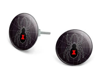 Black widow spider on web novelty silver plated stud earrings
