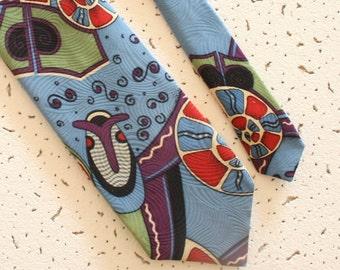 Vintage loud silk tie blue abstract necktie, wide  colorful tie hipster necktie funny tie 60s retro necktie