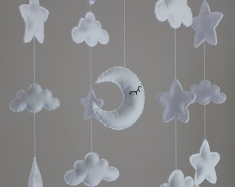 Sale! Gorgeous star cloud moon mobile musical cot mobile star nursery