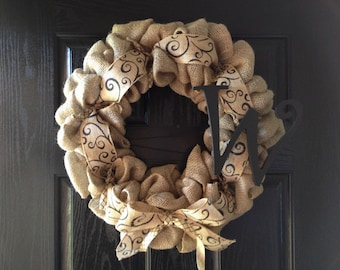 SPRING SPECIAL!!Burlap Wreath with Initial and Scroll Burlap Ribbon- Monogram Wreath- Front Door Wreath