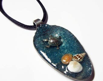 Resin Spoon Pendant - Swimming Turtle -  Altered Art Necklace 1