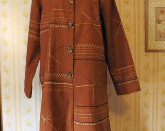 Vintage INDIGO MOON Embroidered Southwestern Duster, Fall or Spring Coat, Sienna, Large