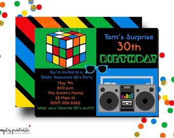 80's Theme 30th Birthday Party Invitation with Rubix Cube & Boom Box