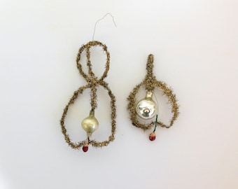 Two Victorian Tinsel and Glass Christmas Ornaments Antique with Silver Glass Balls in Loops with a Spun Cotton Berry