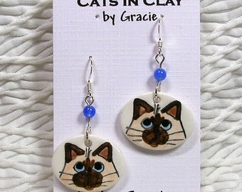 Siamese Himalayan Cat Oval French Wire Earrings Clay With Stone Bead Handmade GMS