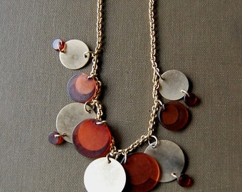 Vintage 1970s Necklace Boho Mod Circles in Orange Brown Amber and Brass Seventies.