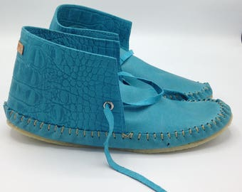 Men's Turquoise Leather Moccasins
