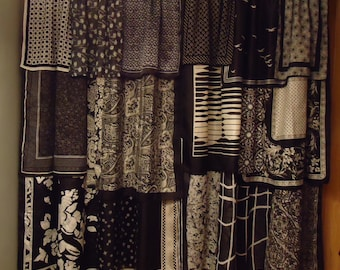 Shades of Black and White Gypsy Boho Curtains - 63""