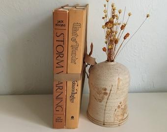Vintage ochre display book set, vintage terra cotta display books, clay display decor , terra cotta shelf books,