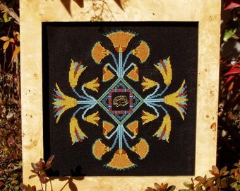 "Ancient Egyptian Cross Stitch Instant Download Pattern KMT ""Egyptian Pond"" Counted Embroidery Chart. X Stitch. Lotus Papyrus Mandala Design"