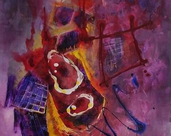 The Fragility of Balance - original, mixed media on canvas