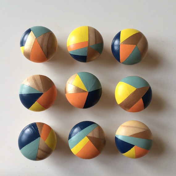 Sunshine. Bundle of 8 Hand painted colourful door knobs