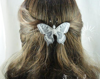 Barrette French 6 cm Butterfly silk white glitter, sequins, Maeva collection, romantic hairstyle, spring, made in France