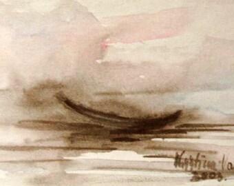 Boat Painting, Original Watercolor on Paper,, Sea painting, Boat painting, Small painting
