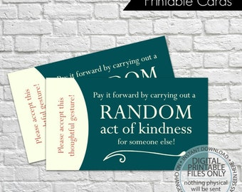 Printable Random Act of Kindness Cards, RAOK, Pay It Forward, DIY Printable, Calling Cards, Random Acts - Green