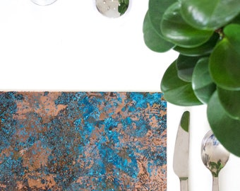 Patinated Copper Placemat Set - Small