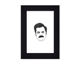 4 x 6 Framed Ron Swanson / Parks and Recreation Portrait