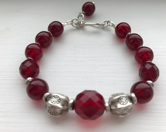 Sadie Bracelet with ruby red Czech beads