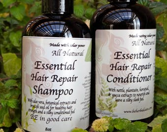 All Natural Hair Repair Shampoo and Conditioner, vegan, non-gmo, gluten free, 8 oz, 16 oz