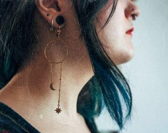 Daity STAR and MOON hoop earrings