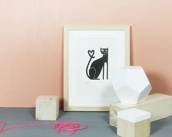 Kitty Cat | Original, Linoldruck, Katze, Grafik, Druck, Linolschnitt, Poster, Bild, Tier, Illustration, Haustier, Kätzchen, süß, schwarz A5