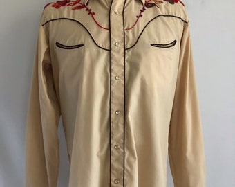 Vintage Mens 70's Western Shirt, Tan, Snap Button, Long Sleeve by Ponderosa (L)