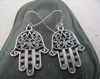 Silver Hamsa Earrings - Hand of Fatima - Evil Eye - Silver Hand Earrings - Protection