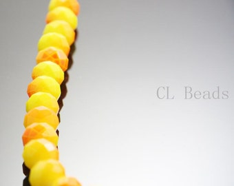 22pcs Donut Neon Crystal - Orange and Yellow Neon Two Tone 10x8mm (902)
