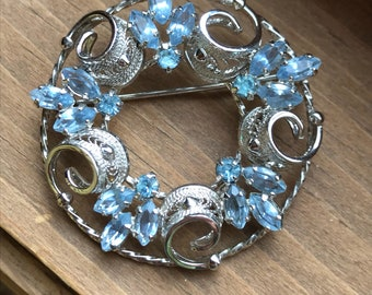 Ann Lee sterling Brooch with blue stones