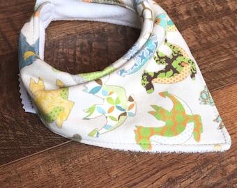 Organic Dragon bib organic Bamboo Terry cloth bib-organic bandana bib-Gender Neutral bandana bib organic baby bib Organic baby gift