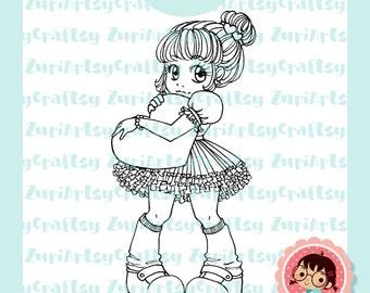 Digital Stamp, Elsie, Cute Girl, Heart, Love Stamp, Scrapbooking Digital Stamp, Instant Download, Zuri Artsy Craftsy