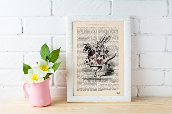 Alice in Wonderland White Rabbit Print on Vintage Dictionary Book ALW015