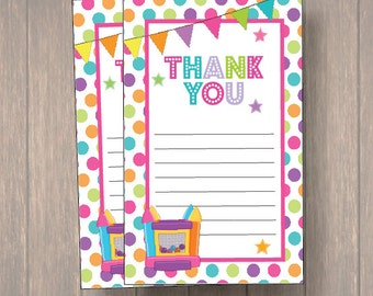 Bounce House, Tumble Thank you cards, Bounce Thank you notes, Birthday Thank you cards