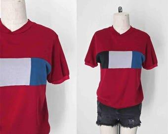 Carrés de MAROON COLOR BLOCK tshirt vintage des années 1980 courtes Sweat manche - S/M