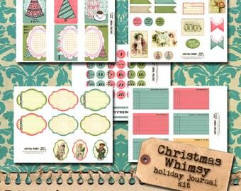 Christmas Whimsy - pink and teal printable kit
