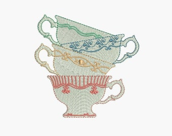 Instant download   Machine Embroidery  Decorated porcelain cups