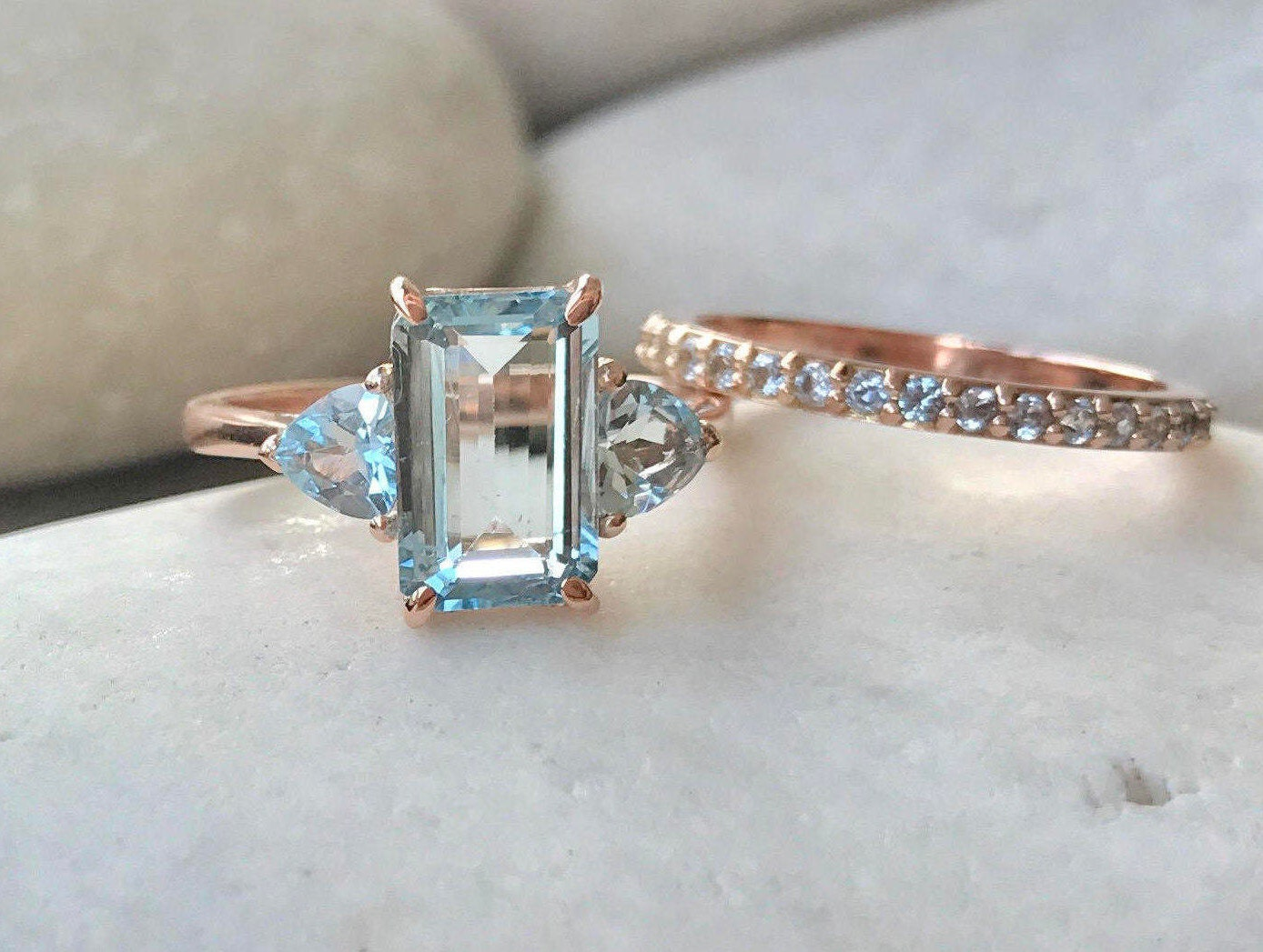 Rose Gold Aquamarine Ring  Aquamarine Engagement Ring Set  Emerald Cut Bridal  Set  Unique Aquamarine Wedding Ring  Rectangle Ring Set