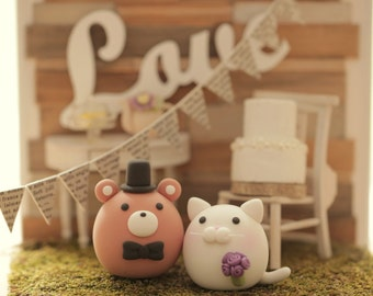 kitty and Cat and Bear wedding cake topper