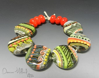 Artisan HANDMADE LAMPWORK beads artisan Glass Beads Donna Millard handmade beads lampwork earrings lampwork focal lampwork bracelet