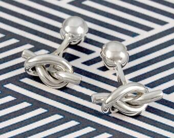 Silver Cufflinks - Sterling Silver - Wedding Cufflinks - Solid Silver Gift - Nautical Cufflinks - Knot Cufflinks - 925 - Handmade Cufflinks