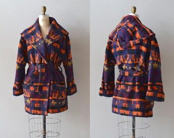 Pendleton blanket coat / wool blanket coat / wool wrap trench