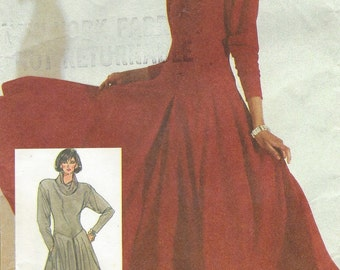 80s Cathy Hardwick Womens Dress Dropped Waist Full Skirt Simplicity Sewing Pattern 7742 Size 12 14 16 Bust 34 36 38 UnCut