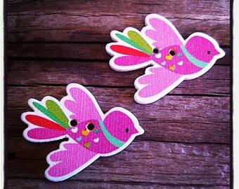 Set of 2 birds 25 x 22 mm 2 holes wood buttons