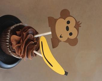 Monkey and Banana Cupcake Toppers