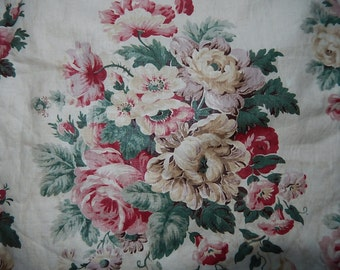Vintage French roses chintz glazed cotton fabric curtain panel pink green sepia cream fragments sewing projects pillows