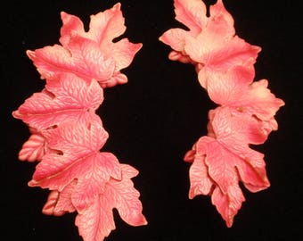 Long Pink Leaf Earrings Vintage Lightweight