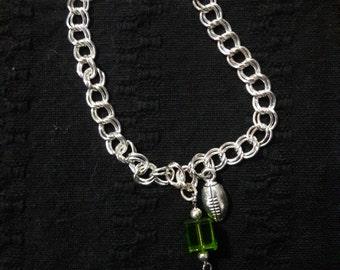 Seahawks Inspired Crsytal Silver Bracelet