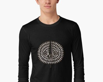 Unisex Adult Long-Sleeve T-Shirt — Portrait of Bobo-Bwa Sun Mask / Ethnographic Art Image Series / Tribal Art - African Art / Unique Apparel