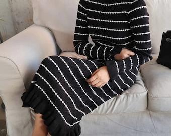 Knitted long dress/stripe long sleeve tight dress/tight long dress/knit long dress/sweater dress/maternity dress/lovely dress/holiday dress